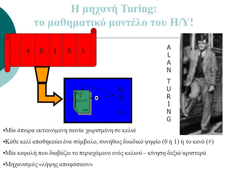 Η μηχανή Turing: το μαθηματικό μοντέλο του Η/Υ! #0101  q0q1qnq0q1qn (q 1,0)  (q 2,1,  )  •Μία άπειρα εκτεινόμενη ταινία χωρισμένη σε κελιά •Κάθε