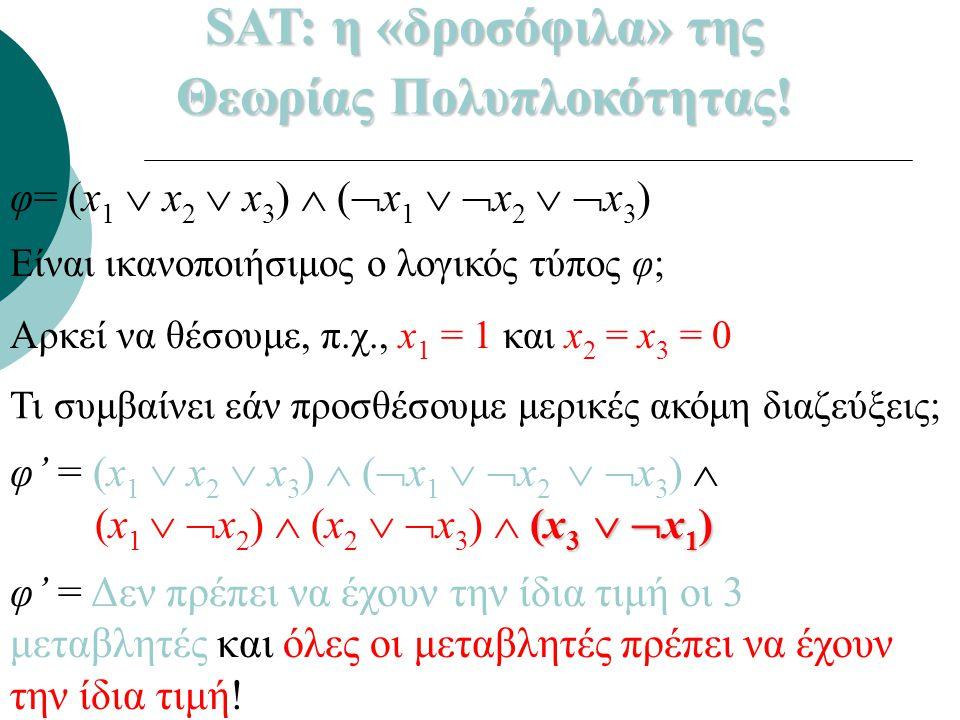 φ= (x 1  x 2  x 3 )  (  x 1   x 2   x 3 ) Είναι ικανοποιήσιμος ο λογικός τύπος φ; Αρκεί να θέσουμε, π.χ., x 1 = 1 και x 2 = x 3 = 0 φ' = (x 1