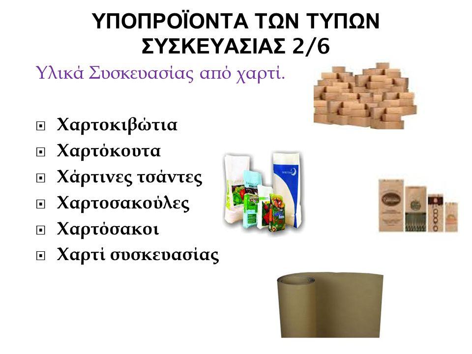 ΥΠΟΠΡΟΪΟΝΤΑ ΤΩΝ ΤΥΠΩΝ ΣΥΣΚΕΥΑΣΙΑΣ 2/6 Υλικά Συσκευασίας από χαρτί.  Χαρτοκιβώτια  Χαρτόκουτα  Χάρτινες τσάντες  Χαρτοσακούλες  Χαρτόσακοι  Χαρτί