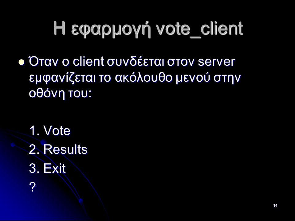14 Η εφαρμογή vote_client  Όταν ο client συνδέεται στον server εμφανίζεται το ακόλουθο μενού στην οθόνη του: 1.