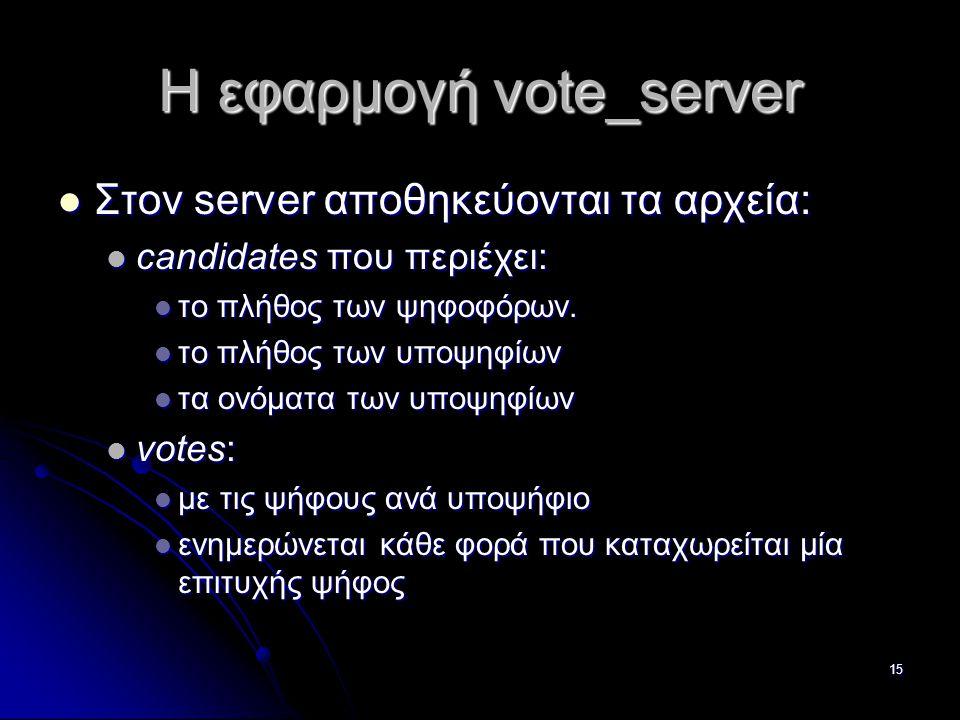 15 Η εφαρμογή vote_server  Στον server αποθηκεύονται τα αρχεία:  candidates που περιέχει:  το πλήθος των ψηφοφόρων.
