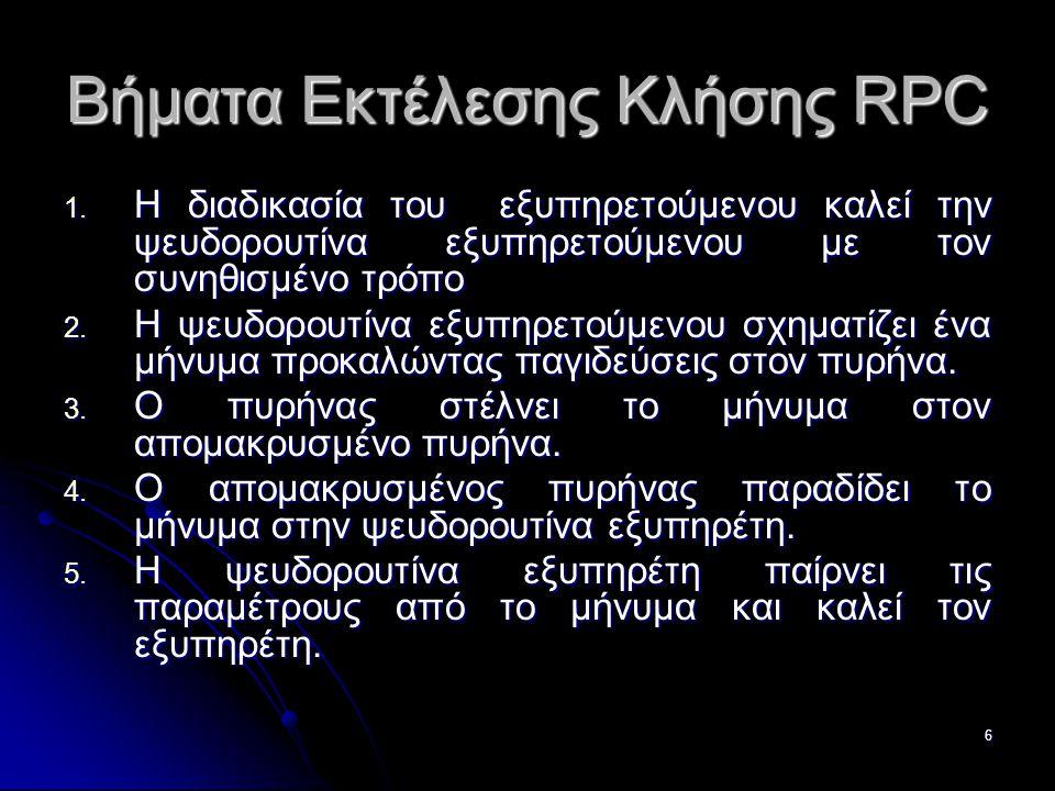 7 Βήματα Εκτέλεσης Κλήσης RPC 6.