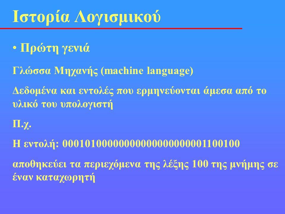 • Πρώτη γενιά Ιστορία Λογισμικού Γλώσσα Μηχανής (machine language) Δεδομένα και εντολές που ερμηνεύονται άμεσα από το υλικό του υπολογιστή Π.χ. Η εντο