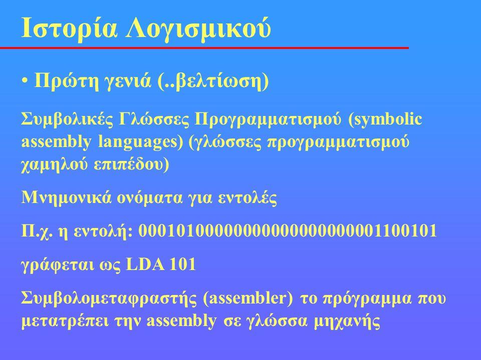 • Πρώτη γενιά (..βελτίωση) Ιστορία Λογισμικού Συμβολικές Γλώσσες Προγραμματισμού (symbolic assembly languages) (γλώσσες προγραμματισμού χαμηλού επιπέδ
