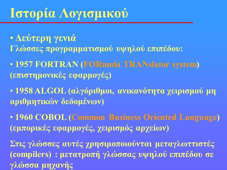 • Δεύτερη γενιά Ιστορία Λογισμικού Γλώσσες προγραμματισμού υψηλού επιπέδου: • 1957 FORTRAN (FORmula TRANslator system) (επιστημονικές εφαρμογές) • 195