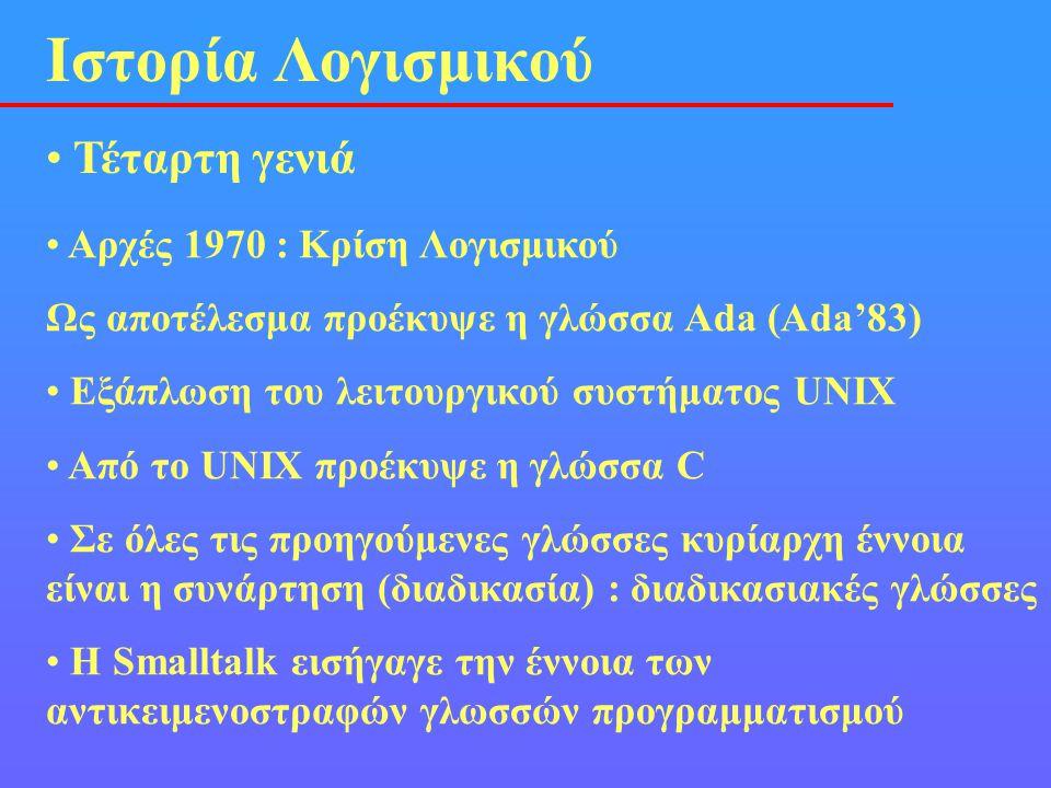 • Τέταρτη γενιά Ιστορία Λογισμικού • Αρχές 1970 : Κρίση Λογισμικού Ως αποτέλεσμα προέκυψε η γλώσσα Ada (Ada'83) • Eξάπλωση του λειτουργικού συστήματος