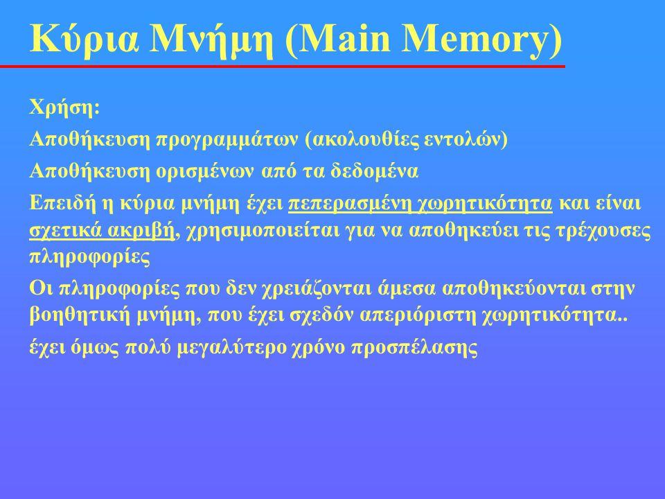 Κύρια Μνήμη (Main Memory) Χρήση: Αποθήκευση προγραμμάτων (ακολουθίες εντολών) Αποθήκευση ορισμένων από τα δεδομένα Επειδή η κύρια μνήμη έχει πεπερασμέ