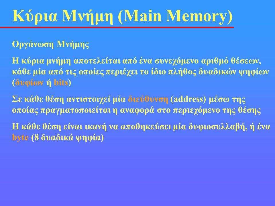 Κύρια Μνήμη (Main Memory) Οργάνωση Μνήμης Η κύρια μνήμη αποτελείται από ένα συνεχόμενο αριθμό θέσεων, κάθε μία από τις οποίες περιέχει το ίδιο πλήθος