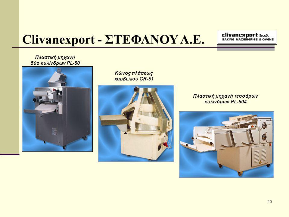 10 Clivanexport - ΣΤΕΦΑΝΟΥ Α.Ε. Κώνος πλάσεως καρβελιού CR-51 Πλαστική μηχανή δύο κυλίνδρων PL-50 Πλαστική μηχανή τεσσάρων κυλίνδρων PL-504