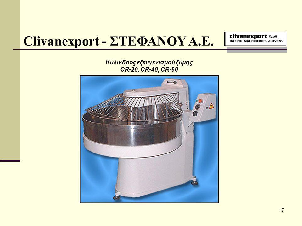 17 Clivanexport - ΣΤΕΦΑΝΟΥ Α.Ε. Κύλινδρος εξευγενισμού ζύμης CR-20, CR-40, CR-60