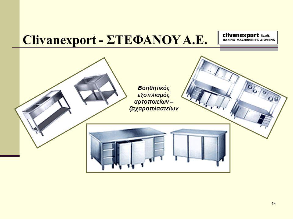 19 Clivanexport - ΣΤΕΦΑΝΟΥ Α.Ε. Βοηθητικός εξοπλισμός αρτοποιείων – ζαχαροπλαστείων