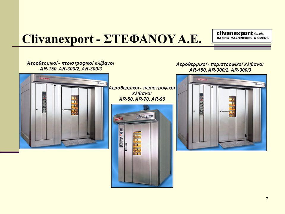18 Clivanexport - ΣΤΕΦΑΝΟΥ Α.Ε. Βοηθητικός εξοπλισμός αρτοποιείων - ζαχαροπλαστείων