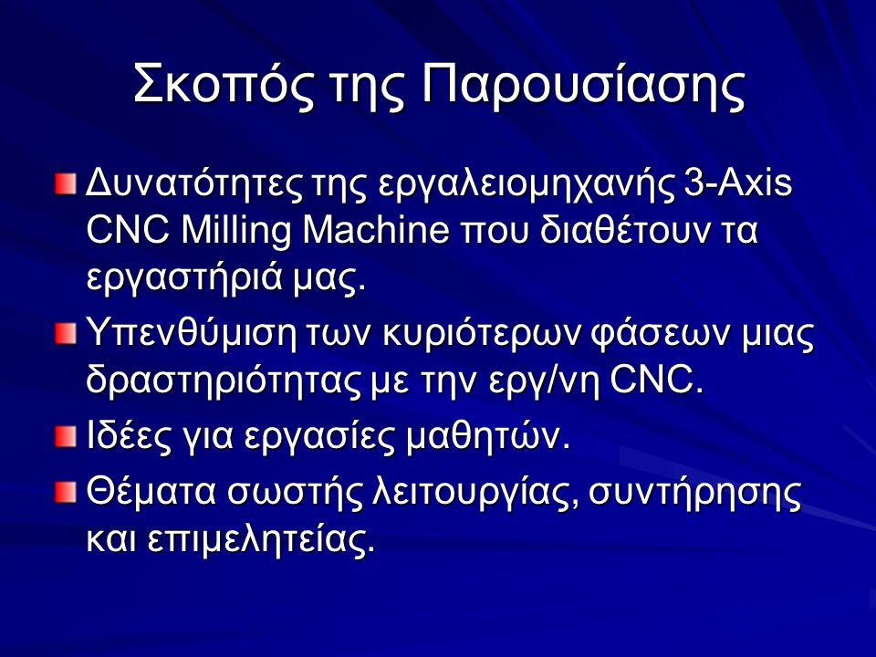 Σκοπός της Παρουσίασης Δυνατότητες της εργαλειομηχανής 3-Axis CNC Milling Machine που διαθέτουν τα εργαστήριά μας. Υπενθύμιση των κυριότερων φάσεων μι