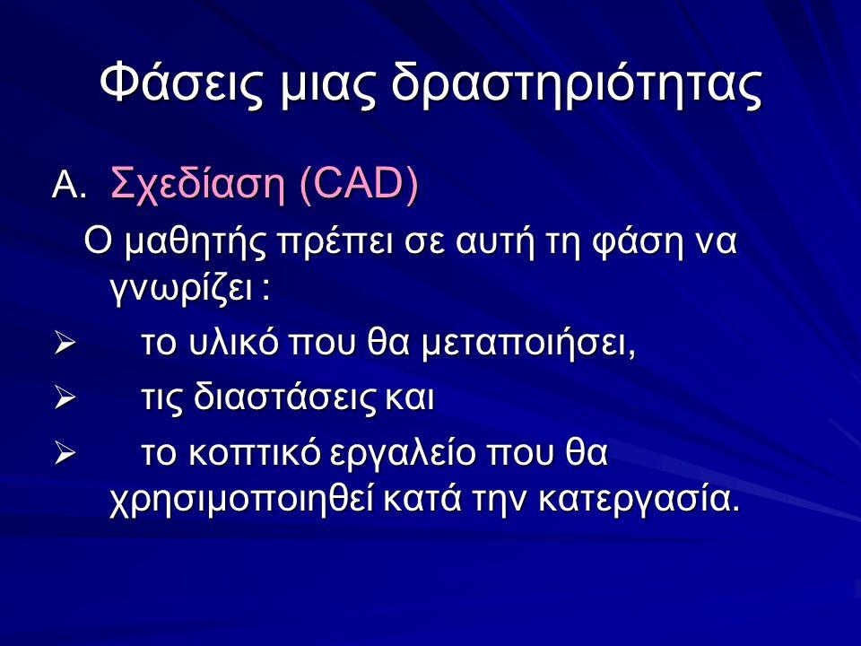 Φάσεις μιας δραστηριότητας A. Σχεδίαση (CAD) Ο μαθητής πρέπει σε αυτή τη φάση να γνωρίζει : Ο μαθητής πρέπει σε αυτή τη φάση να γνωρίζει :  το υλικό
