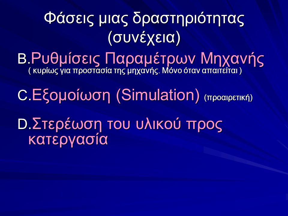 Φάσεις μιας δραστηριότητας (συνέχεια) B. Ρυθμίσεις Παραμέτρων Μηχανής ( κυρίως για προστασία της μηχανής. Μόνο όταν απαιτείται ) C. Εξομοίωση (Simulat