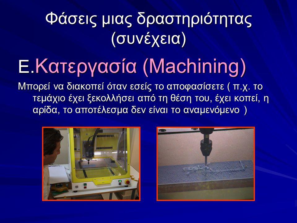 Φάσεις μιας δραστηριότητας (συνέχεια) E. Κατεργασία (Machining) Μπορεί να διακοπεί όταν εσείς το αποφασίσετε ( π.χ. το τεμάχιο έχει ξεκολλήσει από τη