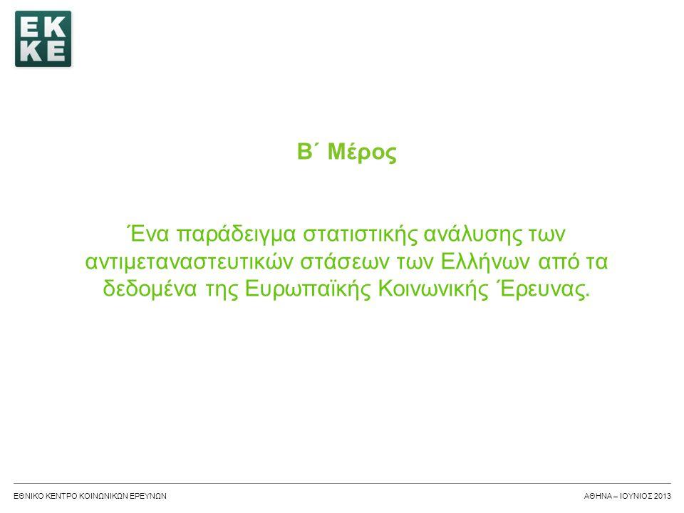 ΕΘΝΙΚΟ ΚΕΝΤΡΟ ΚΟΙΝΩΝΙΚΩΝ ΕΡΕΥΝΩΝΑΘΗΝΑ - ΙΟΥΝΙΟΣ 2013 Τα ερευνητικά ερωτήματα του παραδείγματος 1.Ποια η εξέλιξη των αντιμεταναστευτικών στάσεων των Ελλήνων; 2.Επηρεάζεται η αντιμεταναστευτική στάση των Ελλήνων από την ηλικία; 3.Επηρεάζεται η αντιμεταναστευτική στάση των Ελλήνων από το εκπαιδευτικό επίπεδο; 4.Επηρεάζεται η αντιμεταναστευτική στάση των Ελλήνων από τη διαπροσωπική εμπιστοσύνη; 5.Ποια από τις 3 ως άνω μεταβλητές (ηλικία, εκπαιδευτικό επίπεδο, διαπροσωπική εμπιστοσύνη) επηρεάζει περισσότερο την αντιμεταναστευτική στάση;