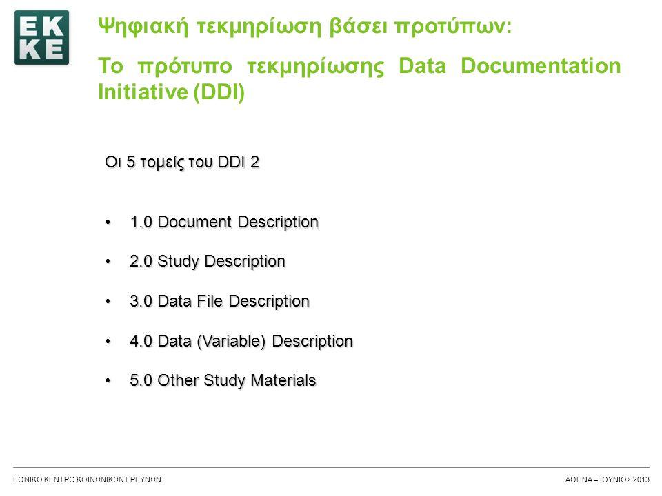 ΕΘΝΙΚΟ ΚΕΝΤΡΟ ΚΟΙΝΩΝΙΚΩΝ ΕΡΕΥΝΩΝΑΘΗΝΑ – ΙΟΥΝΙΟΣ 2013 1.0 Document Description – Περιγραφή εγγράφου •Βιβλιογραφική περιγραφή του ίδιου του DDI εγγράφου •Αυτός ο τομέας ορίζει τη βιβλιογραφική πληροφορία που περιγράφει όλο το έγγραφο, όμοια με την πληροφορία όπου ένας εκδότης μπορεί να προσθέσει σε ένα βιβλίο.