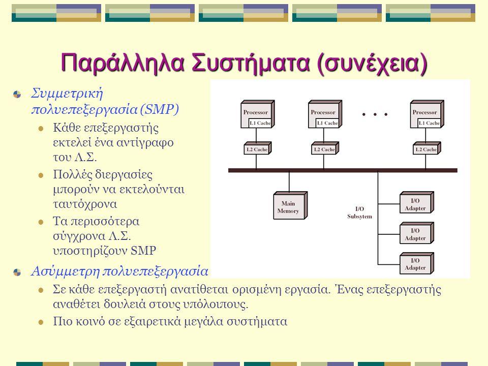 Παράλληλα Συστήματα (συνέχεια) Συμμετρική πολυεπεξεργασία (SMP)  Κάθε επεξεργαστής εκτελεί ένα αντίγραφο του Λ.Σ.  Πολλές διεργασίες μπορούν να εκτε