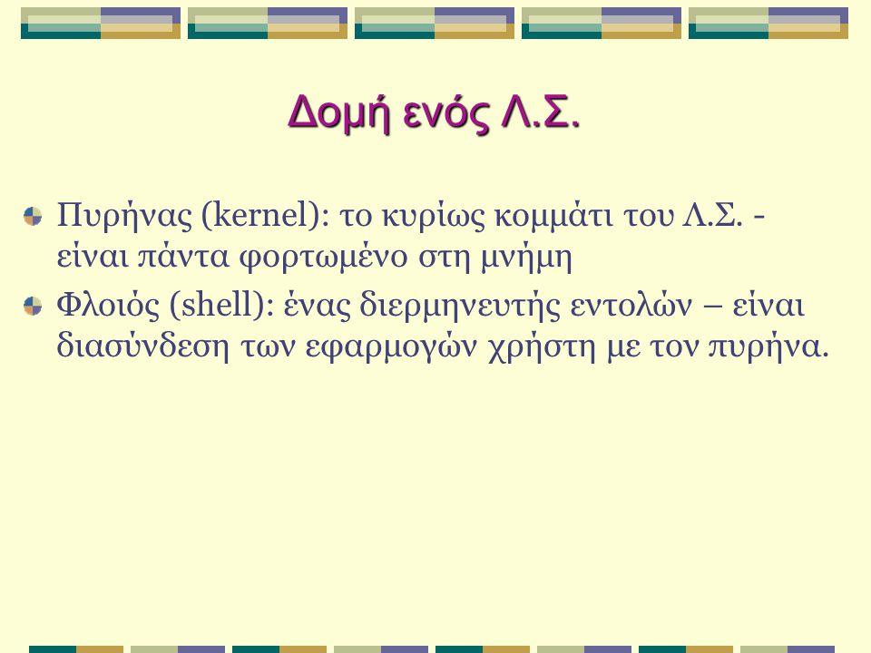 Δομή ενός Λ.Σ. Πυρήνας (kernel): το κυρίως κομμάτι του Λ.Σ. - είναι πάντα φορτωμένο στη μνήμη Φλοιός (shell): ένας διερμηνευτής εντολών – είναι διασύν