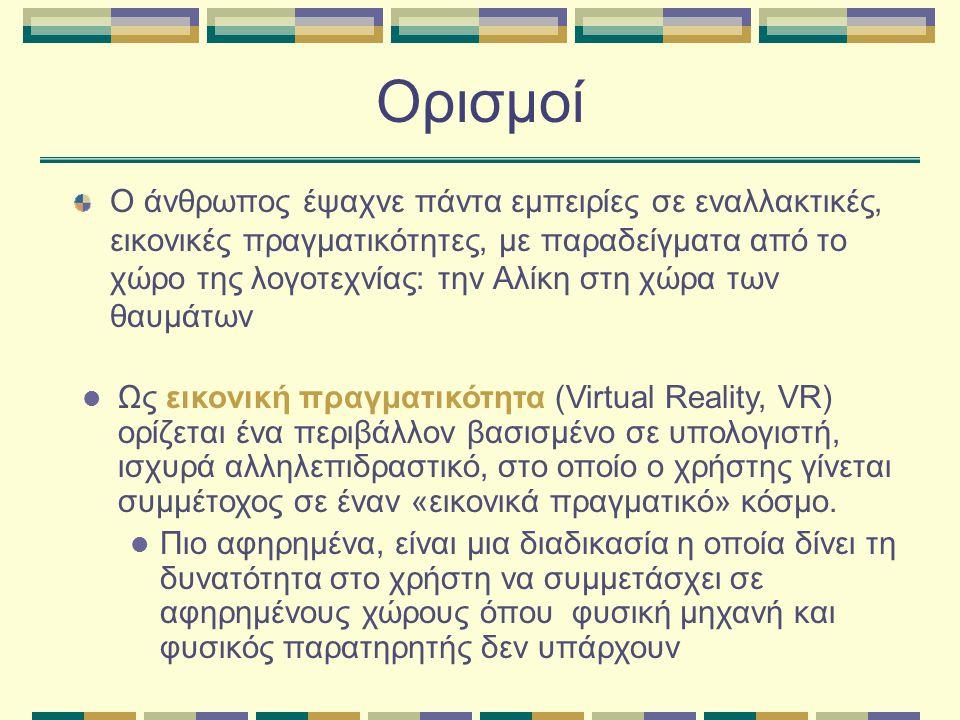 Ορισμοί Ο άνθρωπος έψαχνε πάντα εμπειρίες σε εναλλακτικές, εικονικές πραγματικότητες, με παραδείγματα από το χώρο της λογοτεχνίας: την Αλίκη στη χώρα των θαυμάτων  Ως εικονική πραγματικότητα (Virtual Reality, VR) ορίζεται ένα περιβάλλον βασισμένο σε υπολογιστή, ισχυρά αλληλεπιδραστικό, στο οποίο ο χρήστης γίνεται συμμέτοχος σε έναν «εικονικά πραγματικό» κόσμο.
