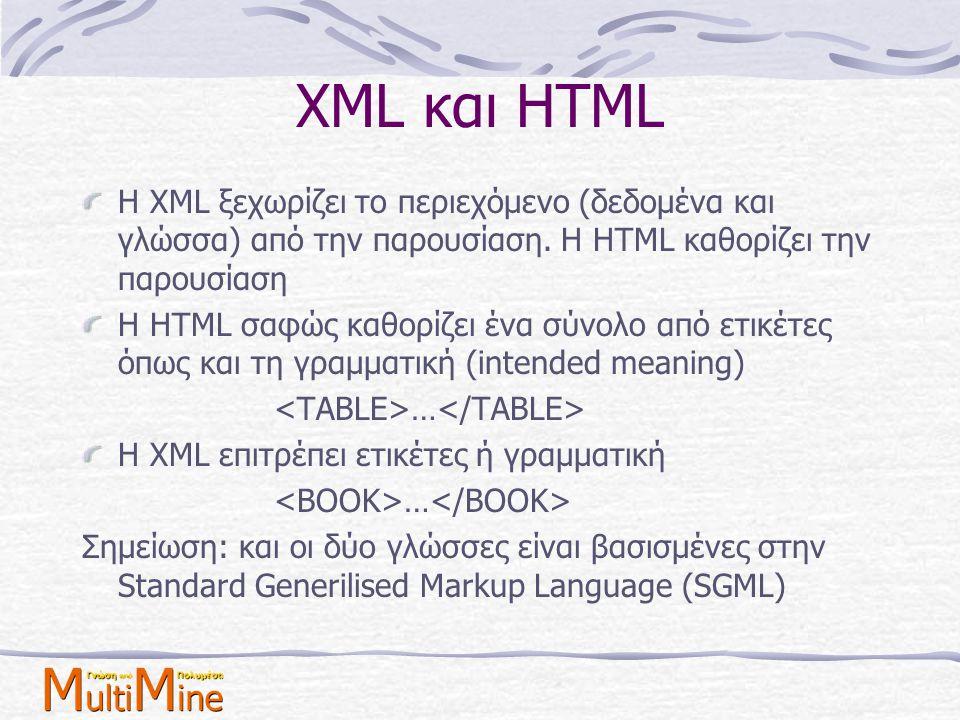 XML και HTML Η XML ξεχωρίζει το περιεχόμενο (δεδομένα και γλώσσα) από την παρουσίαση. Η HTML καθορίζει την παρουσίαση Η HTML σαφώς καθορίζει ένα σύνολ