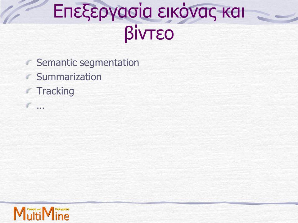 Επεξεργασία εικόνας και βίντεο Semantic segmentation Summarization Tracking …