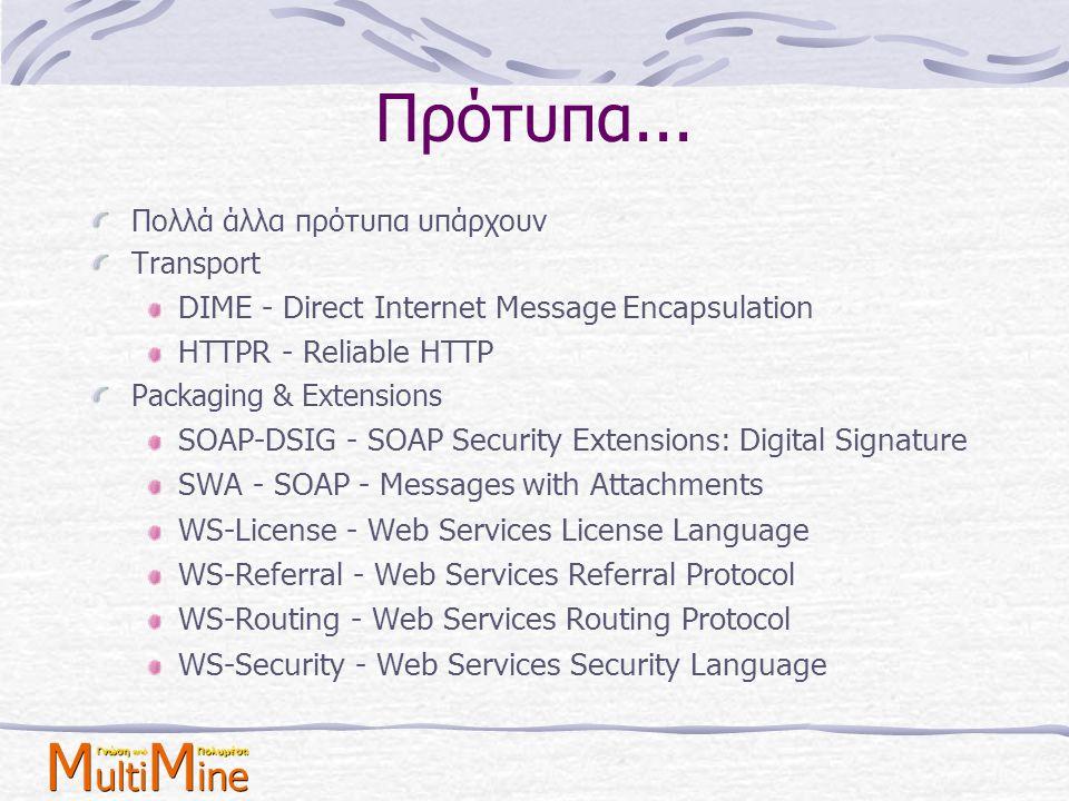 Πρότυπα... Πολλά άλλα πρότυπα υπάρχουν Transport DIME - Direct Internet Message Encapsulation HTTPR - Reliable HTTP Packaging & Extensions SOAP-DSIG -