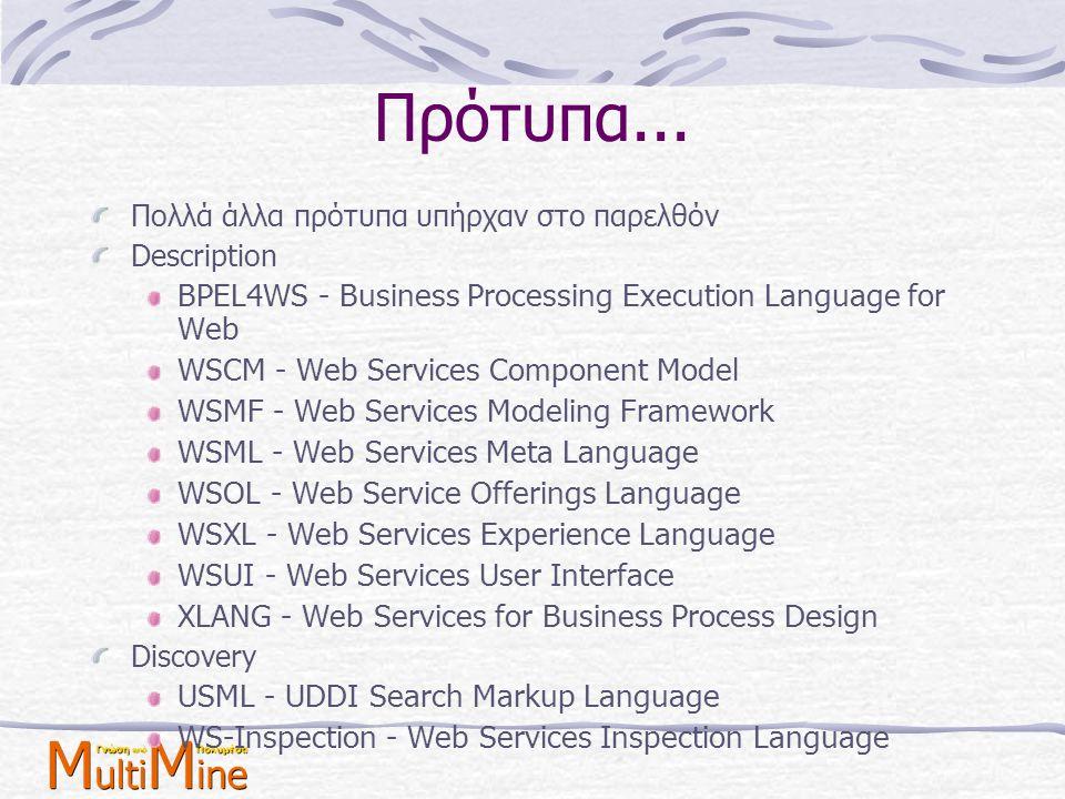Πρότυπα... Πολλά άλλα πρότυπα υπήρχαν στο παρελθόν Description BPEL4WS - Business Processing Execution Language for Web WSCM - Web Services Component