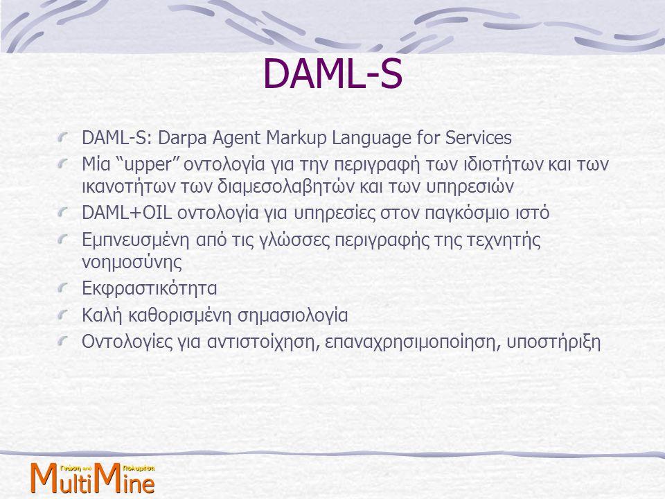 "DAML-S DAML-S: Darpa Agent Markup Language for Services Μία ""upper"" οντολογία για την περιγραφή των ιδιοτήτων και των ικανοτήτων των διαμεσολαβητών κα"