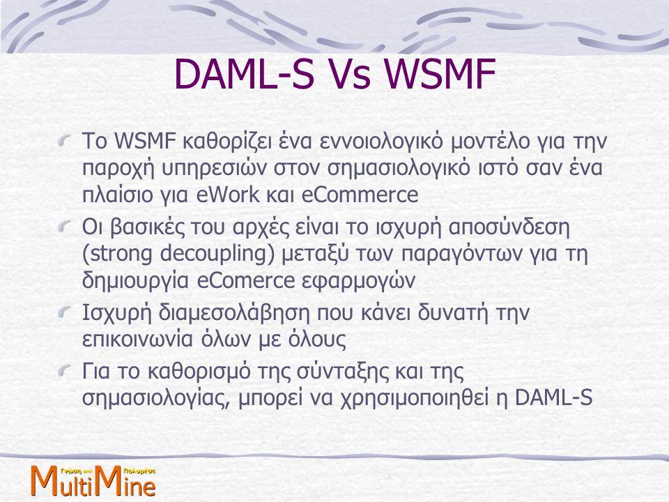 DAML-S Vs WSMF Το WSMF καθορίζει ένα εννοιολογικό μοντέλο για την παροχή υπηρεσιών στον σημασιολογικό ιστό σαν ένα πλαίσιο για eWork και eCommerce Οι