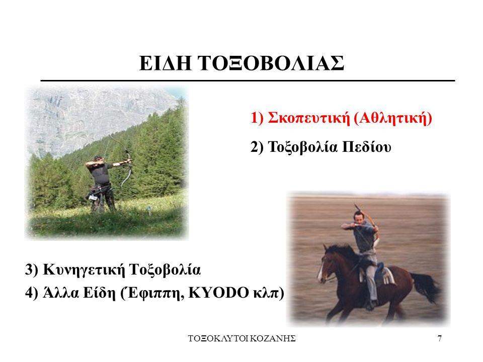 ΤΟΞΟΚΛΥΤΟΙ ΚΟΖΑΝΗΣ7 3) Κυνηγετική Τοξοβολία 4) Άλλα Είδη (Έφιππη, KYODO κλπ) ΕΙΔΗ ΤΟΞΟΒΟΛΙΑΣ 1) Σκοπευτική (Αθλητική) 2) Τοξοβολία Πεδίου