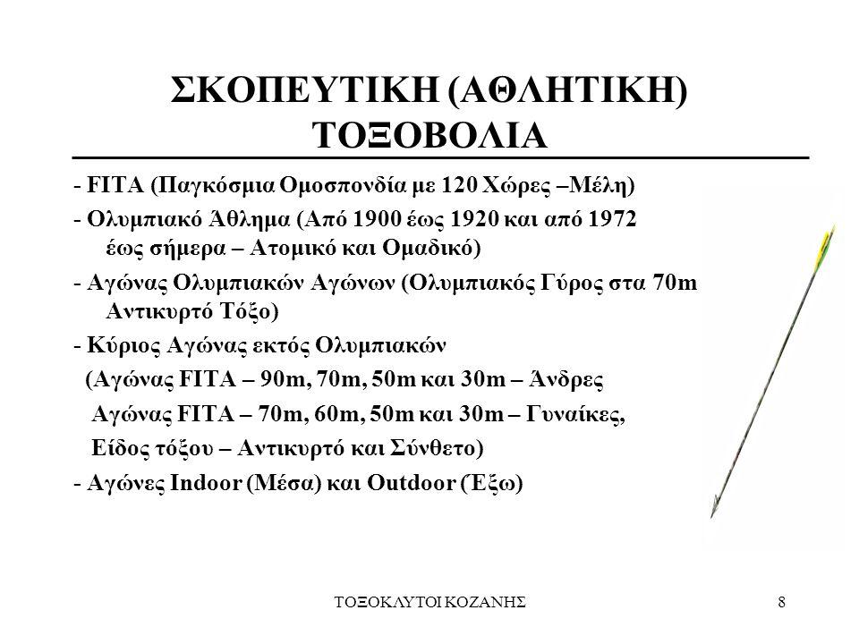 ΤΟΞΟΚΛΥΤΟΙ ΚΟΖΑΝΗΣ8 - FITA (Παγκόσμια Ομοσπονδία με 120 Χώρες –Μέλη) - Ολυμπιακό Άθλημα (Από 1900 έως 1920 και από 1972 έως σήμερα – Ατομικό και Ομαδι