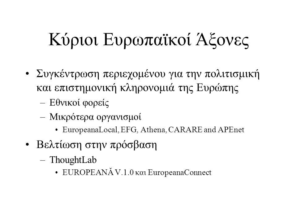 Κύριοι Ευρωπαϊκοί Άξονες •Συγκέντρωση περιεχομένου για την πολιτισμική και επιστημονική κληρονομιά της Ευρώπης –Εθνικοί φορείς –Μικρότερα οργανισμοί •EuropeanaLocal, EFG, Athena, CARARE and APEnet •Βελτίωση στην πρόσβαση –ThoughtLab •EUROPEANĂ V.1.0 και EuropeanaConnect