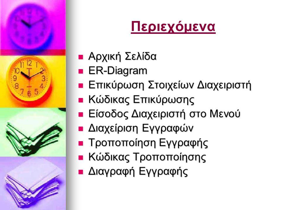 Περιεχόμενα  Αρχική Σελίδα  ER-Diagram  Επικύρωση Στοιχείων Διαχειριστή  Κώδικας Επικύρωσης  Είσοδος Διαχειριστή στο Μενού  Διαχείριση Εγγραφών