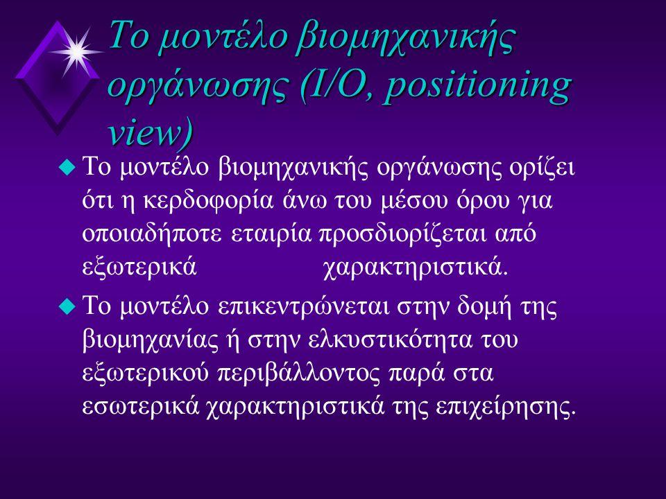 To μοντέλο βιομηχανικής οργάνωσης (Ι/Ο, positioning view) u 6 Δράσεις u Εξέτασε το εξωτερικό (γενικό, κλάδου- βιομηχανίας και ανταγωνιστικό) περιβάλλον και ιδιαίτερα την βιομηχανία u Διάλεξε μία βιομηχανία που τα δομικά χαρακτηριστικά της δείχνουν δυναμικό για ανώτερη κερδοφορία u Προσδιόρισε την στρατηγική που απαιτείται από την συγκεκριμένη βιομηχανία για υψηλή κερδοφορία