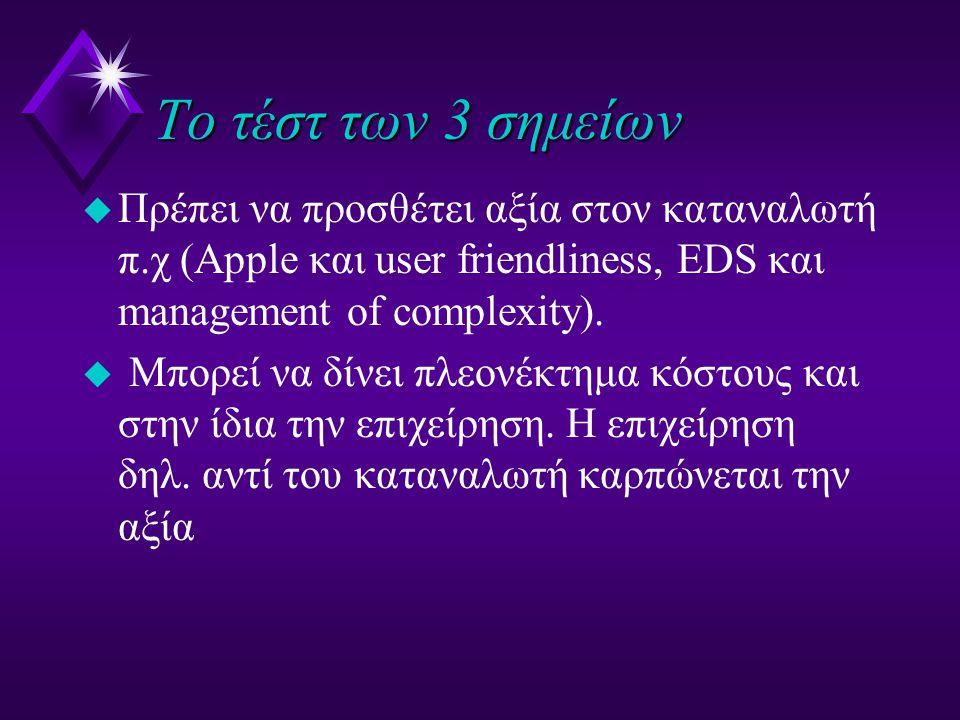 Το τέστ των 3 σημείων u Πρέπει να προσθέτει αξία στον καταναλωτή π.χ (Apple και user friendliness, EDS και management of complexity). u Μπορεί να δίνε