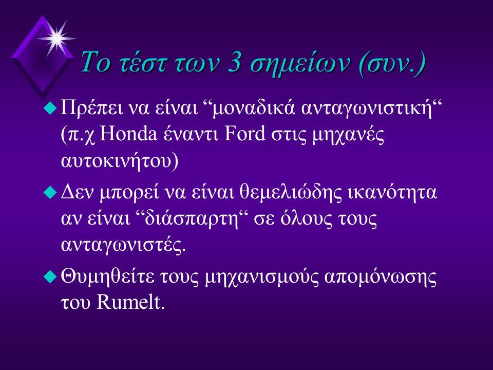 Το τέστ των 3 σημείων (συν.) u Πρέπει να είναι μοναδικά ανταγωνιστική (π.χ Ηonda έναντι Ford στις μηχανές αυτοκινήτου) u Δεν μπορεί να είναι θεμελιώδης ικανότητα αν είναι διάσπαρτη σε όλους τους ανταγωνιστές.