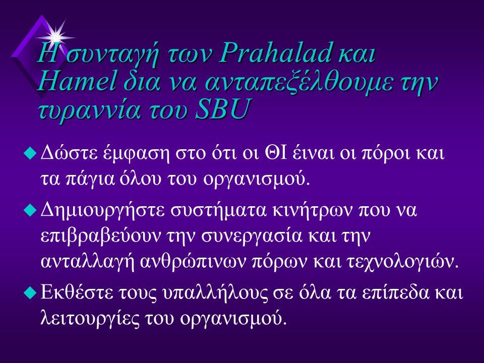 Η συνταγή των Prahalad και Hamel δια να ανταπεξέλθουμε την τυραννία του SBU u Δώστε έμφαση στο ότι οι ΘΙ έιναι οι πόροι και τα πάγια όλου του οργανισμ