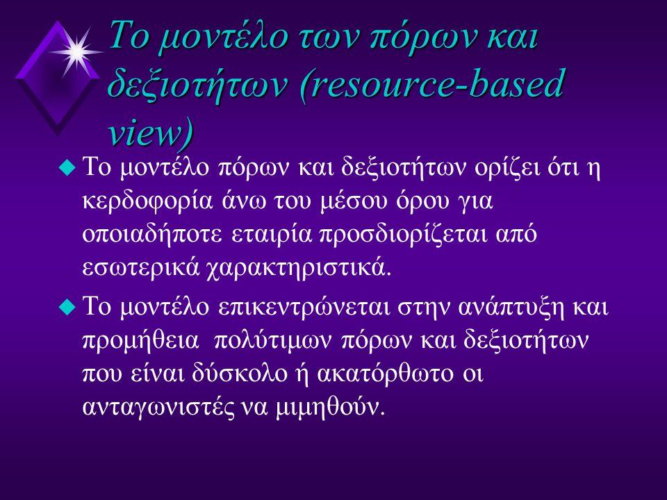 To μοντέλο των πόρων και δεξιοτήτων (resource-based view) u To μοντέλο πόρων και δεξιοτήτων ορίζει ότι η κερδοφορία άνω του μέσου όρου για οποιαδήποτε εταιρία προσδιορίζεται από εσωτερικά χαρακτηριστικά.
