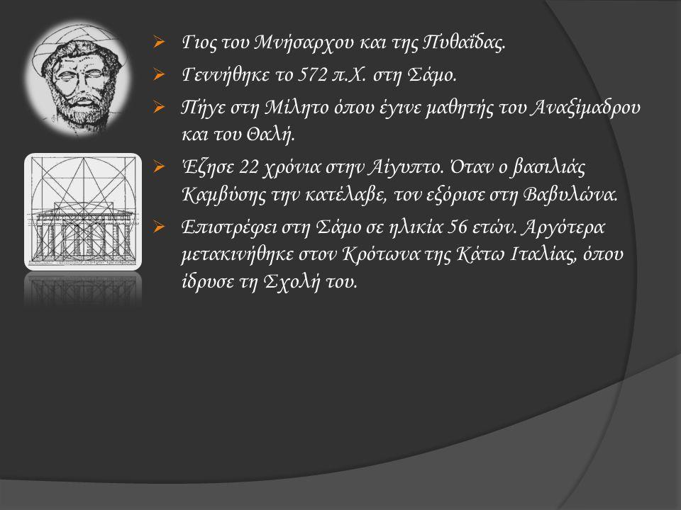  Γιος του Μνήσαρχου και της Πυθαΐδας.  Γεννήθηκε το 572 π.Χ. στη Σάμο.  Πήγε στη Μίλητο όπου έγινε μαθητής του Αναξίμαδρου και του Θαλή.  Έζησε 22