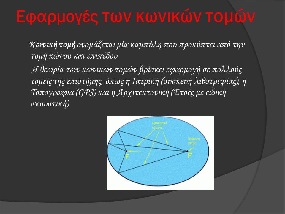 Εφαρμογές των κωνικών τομών Κωνική τομή ονομάζεται μία καμπύλη που προκύπτει από την τομή κώνου και επιπέδου Η θεωρία των κωνικών τομών βρίσκει εφαρμο
