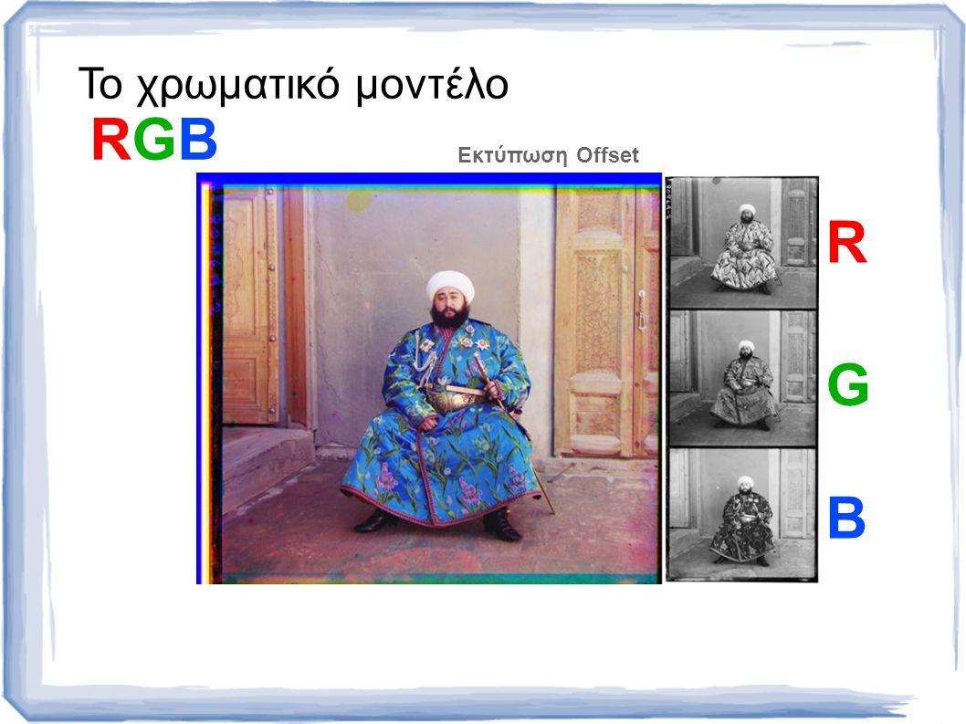 Το χρωματικό μοντέλο RGB R G B Εκτύπωση Offset