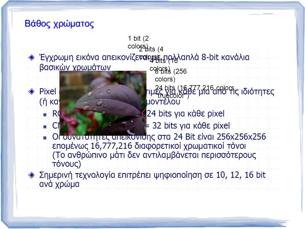 Βάθος χρώματος 1 bit (2 colors) 2 bits (4 colors) 4 bits (16 colors) 8 bits (256 colors) 24 bits (16,777,216 colors, truecolor )