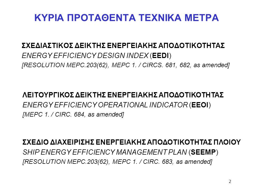 ΚΥΡΙΑ ΠΡΟΤΑΘΕΝΤΑ ΤΕΧΝΙΚΑ ΜΕΤΡΑ ΣΧΕΔΙΑΣΤΙΚΟΣ ΔΕΙΚΤΗΣ ΕΝΕΡΓΕΙΑΚΗΣ ΑΠΟΔΟΤΙΚΟΤΗΤΑΣ ENERGY EFFICIENCY DESIGN INDEX (EEDI) [RESOLUTION MEPC.203(62), MEPC 1.