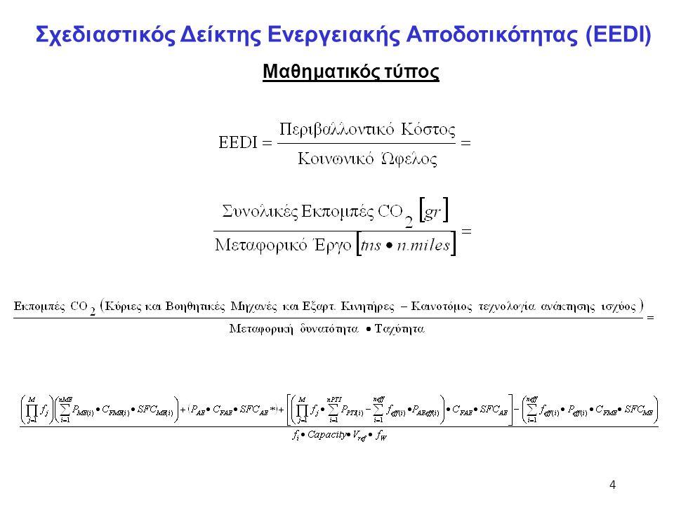 4 Μαθηματικός τύπος Σχεδιαστικός Δείκτης Ενεργειακής Αποδοτικότητας (EEDI)