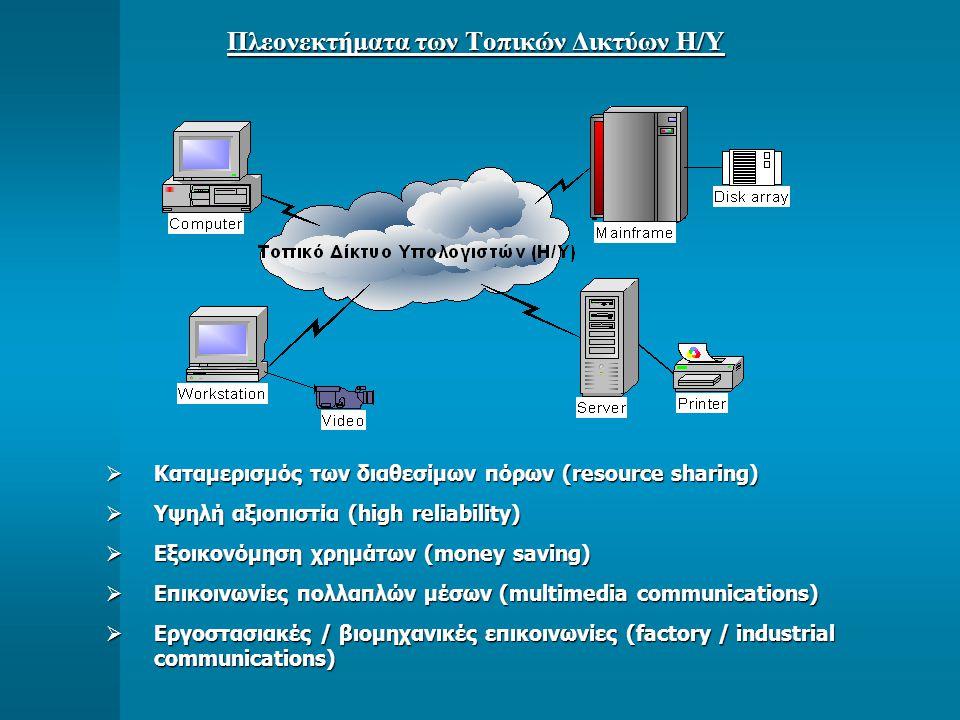 Πλεονεκτήματα των Τοπικών Δικτύων Η/Υ  Καταμερισμός των διαθεσίμων πόρων (resource sharing)  Υψηλή αξιοπιστία (high reliability)  Εξοικονόμηση χρημάτων (money saving)  Επικοινωνίες πολλαπλών μέσων (multimedia communications)  Εργοστασιακές / βιομηχανικές επικοινωνίες (factory / industrial communications)