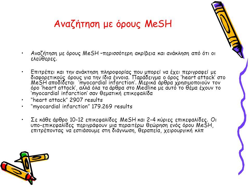Αναζήτηση με όρους MeSH •Αναζήτηση με όρους MeSH –περισσότερη ακρίβεια και ανάκληση από ότι οι ελεύθερες.