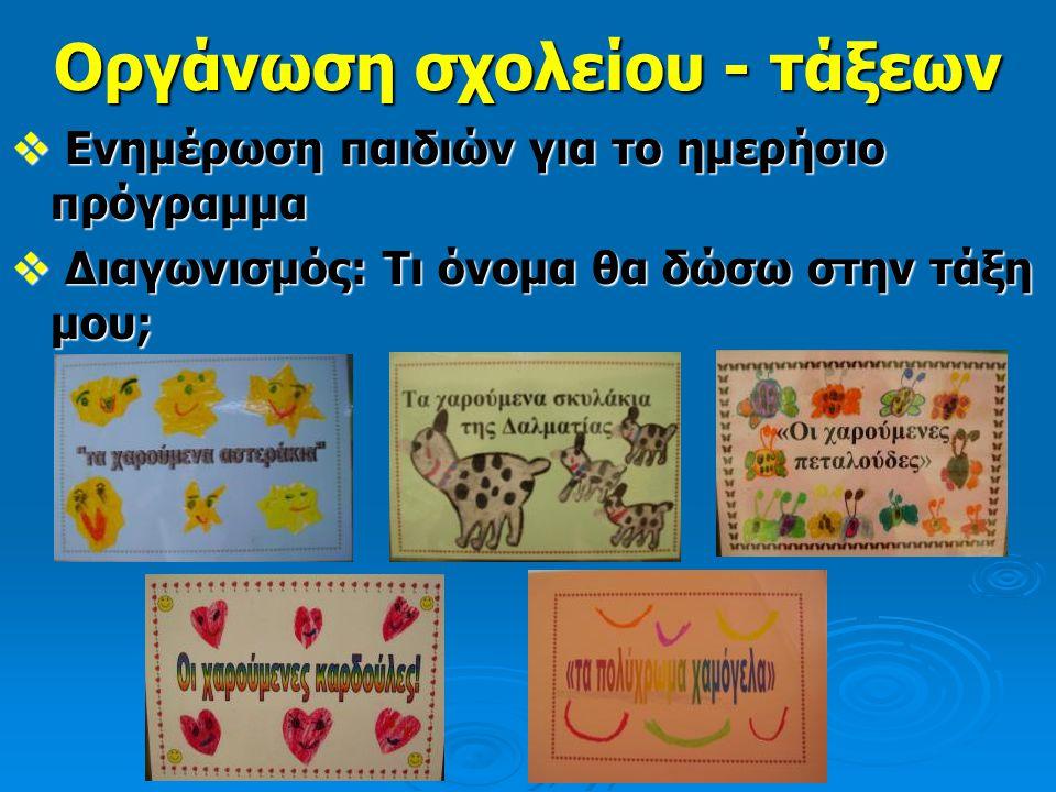 Ε Ε Ε Ενημέρωση παιδιών για το ημερήσιο πρόγραμμα  Δ Δ Δ Διαγωνισμός: Τι όνομα θα δώσω στην τάξη μου;