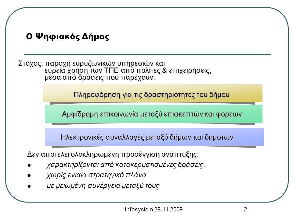Infosystem 28.11.2009 2 Ο Ψηφιακός Δήμος Στόχος: παροχή ευρυζωνικών υπηρεσιών και ευρεία χρήση των ΤΠΕ από πολίτες & επιχειρήσεις, ευρεία χρήση των ΤΠΕ από πολίτες & επιχειρήσεις, μέσα από δράσεις που παρέχουν: μέσα από δράσεις που παρέχουν: Πληροφόρηση για τις δραστηριότητες του δήμου Αμφίδρομη επικοινωνία μεταξύ επισκεπτών και φορέων Ηλεκτρονικές συναλλαγές μεταξύ δήμων και δημοτών Δεν αποτελεί ολοκληρωμένη προσέγγιση ανάπτυξης:  χαρακτηρίζονται από κατακερματισμένες δράσεις,  χωρίς ενιαίο στρατηγικό πλάνο  με μειωμένη συνέργεια μεταξύ τους